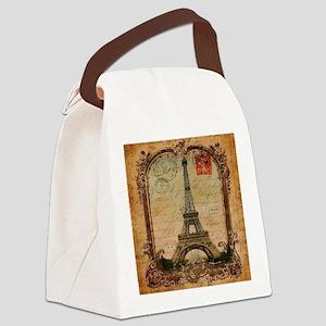vintage scripts postage paris eif Canvas Lunch Bag