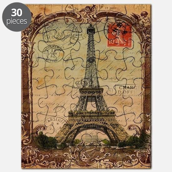 vintage scripts postage paris eiffel tower Puzzle
