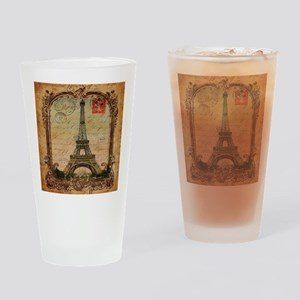 vintage scripts postage paris eiffe Drinking Glass