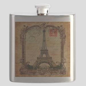 vintage scripts postage paris eiffel tower Flask
