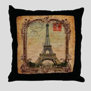vintage scripts postage paris eiffel  Throw Pillow