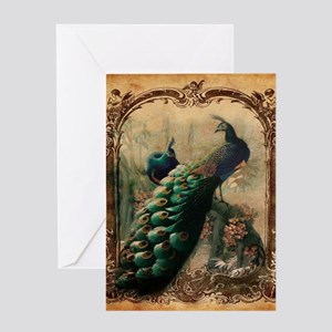 French vintage greeting cards cafepress vintage elegant peacock french flora greeting card m4hsunfo