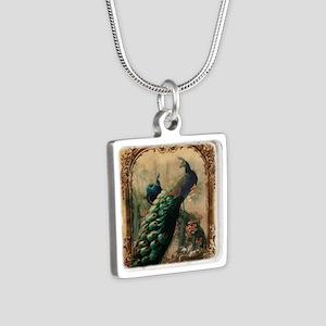 vintage elegant peacock fr Silver Square Necklace