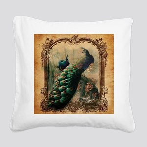 vintage elegant peacock frenc Square Canvas Pillow