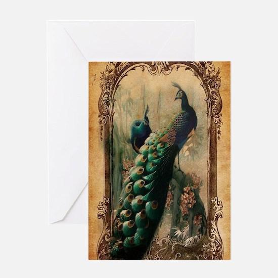 vintage elegant peacock french flora Greeting Card