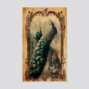 vintage elegant peacock french Sticker (Rectangle)