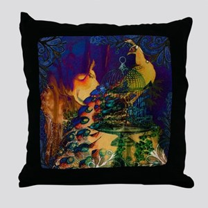 vintage modern colorful elegant peaco Throw Pillow