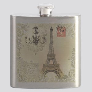 vintage  chandelier postage paris eiffel tow Flask