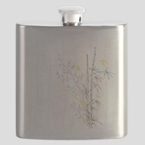 Bamboo n Birds Yellow Flask
