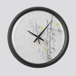 Bamboo n Birds Yellow Large Wall Clock