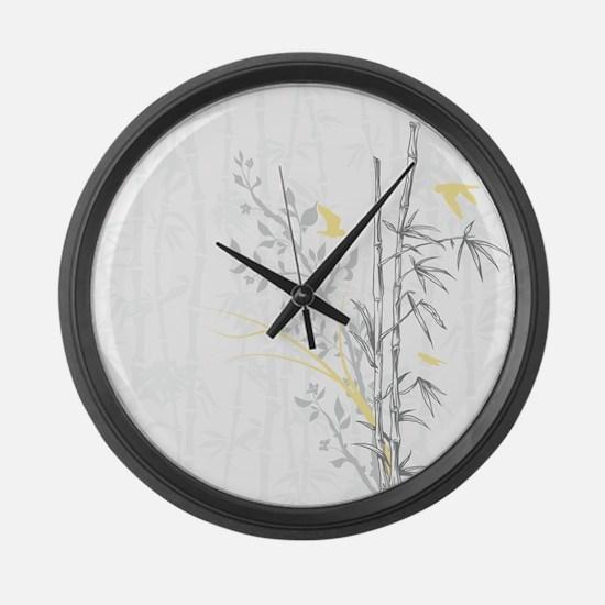 Bamboo n Birds Yellow Large Wall Clock