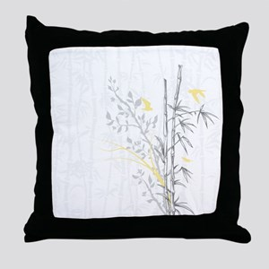 Bamboo n Birds Yellow Throw Pillow
