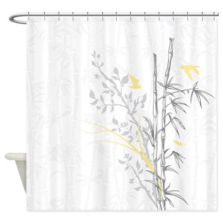 Bamboo N Birds Yellow Shower Curtain By Colorcrazy