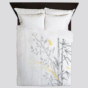 Bamboo n Birds Yellow Queen Duvet