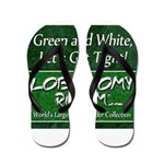 Green and White Flip Flops