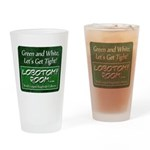 Green and White Drinking Glass