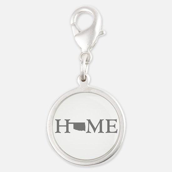 Oklahoma Home Silver Round Charm