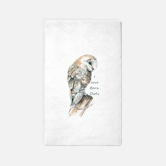 I love Barn Owls Fun Quote 3'x5' Area Rug
