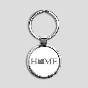 Oregon Home Round Keychain