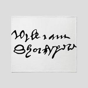 William Shakespare's Signature Throw Blanket