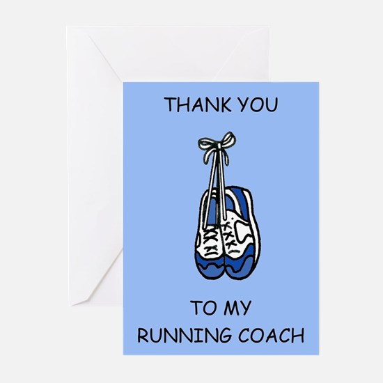 Running Coach Thanks, blue. Greeting Cards