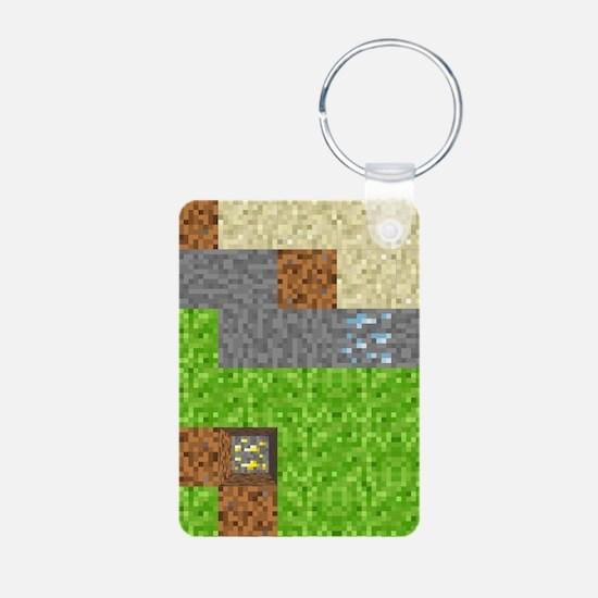 Pixel Art Play Mat Aluminum Photo Keychain