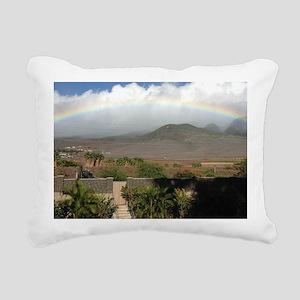 Rainbow Over Mountain Rectangular Canvas Pillow