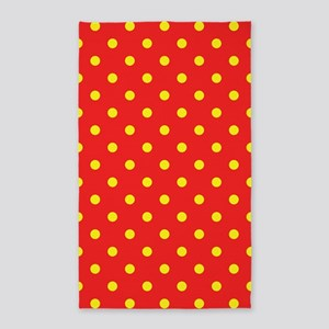 Red and Yellow Polka Dot 3'x5' Area Rug