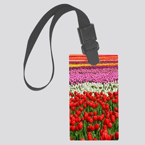 Colorful rows of spring tulips Large Luggage Tag