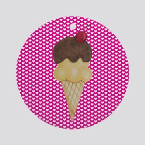 Ice Cream on Pink Hearts Ornament (Round)