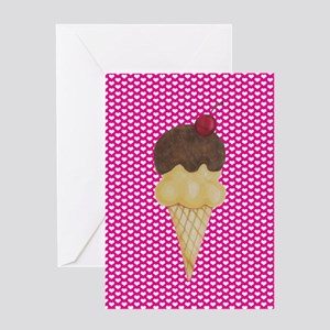 Ice Cream on Pink Hearts Greeting Cards