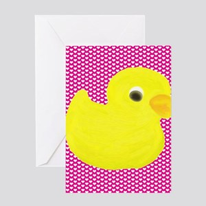 Rubber Duck on Hearts Greeting Cards