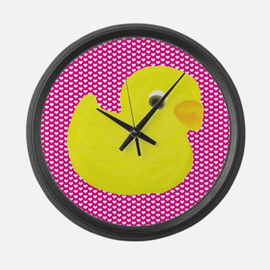 Rubber Duck on Hearts Large Wall Clock