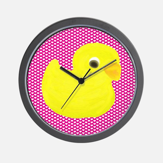 Rubber Duck on Hearts Wall Clock