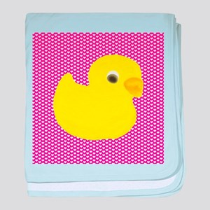Rubber Duck on Hearts baby blanket