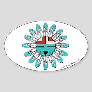 Hopi Sunface Oval Sticker