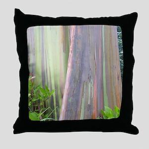 Rainbow Eucalyptus Tree Throw Pillow