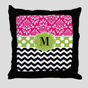 Pink Green Chevron Monogram Throw Pillow