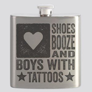 Shoes Booze and Boys with Tattoos Flask