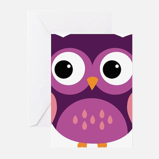 Purple Owl Greeting Cards