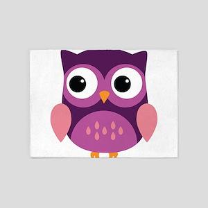 Purple Owl 5'x7'Area Rug