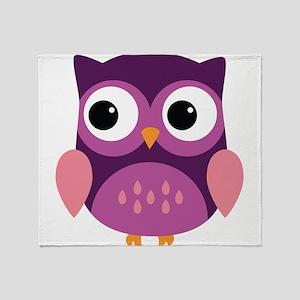 Purple Owl Throw Blanket