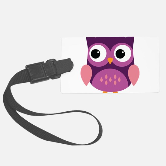 Purple Owl Luggage Tag
