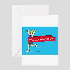 Good Luck Marathon Lady Greeting Cards