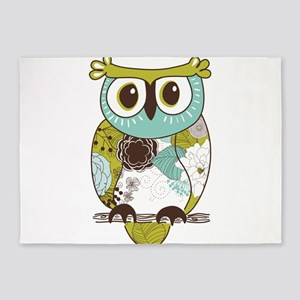 Teal Green Owl 5'x7'Area Rug