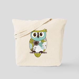 Teal Green Owl Tote Bag