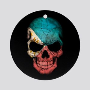 Filipino Flag Skull on Black Ornament (Round)