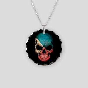 Filipino Flag Skull on Black Necklace Circle Charm