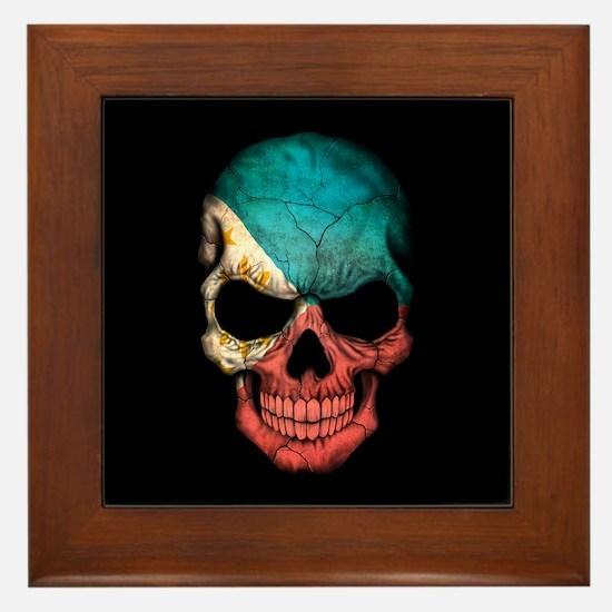 Filipino Flag Skull on Black Framed Tile