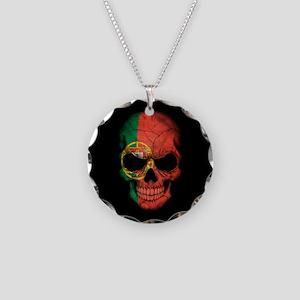 Portuguese Flag Skull on Black Necklace Circle Cha
